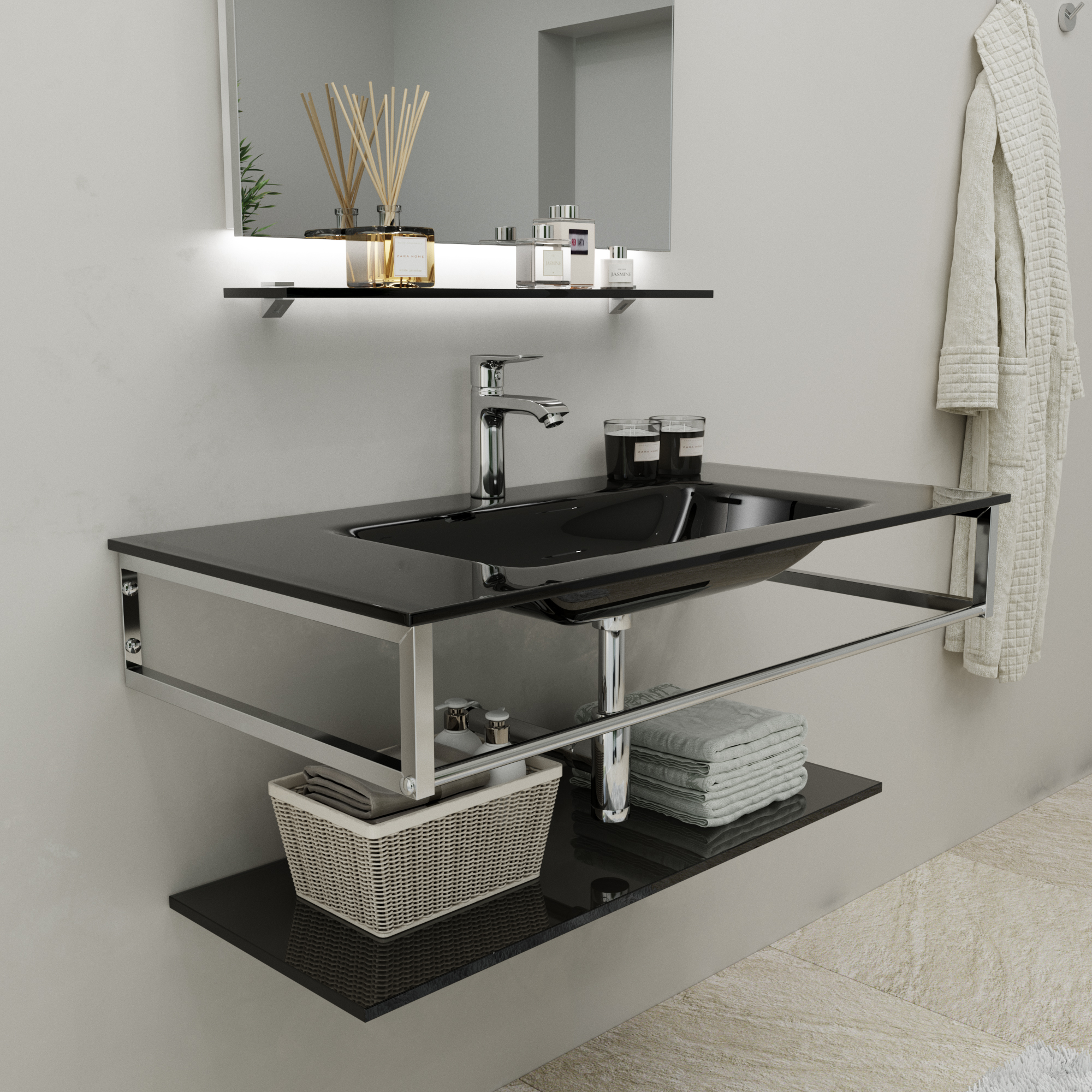 Wall-Mount Bracket and Vanity Unit Sink